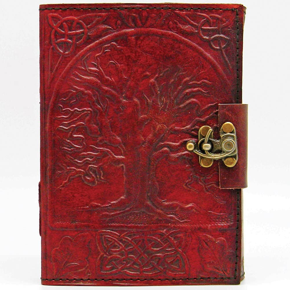 Tree of Life Leather Blank Book with Lock 5x7