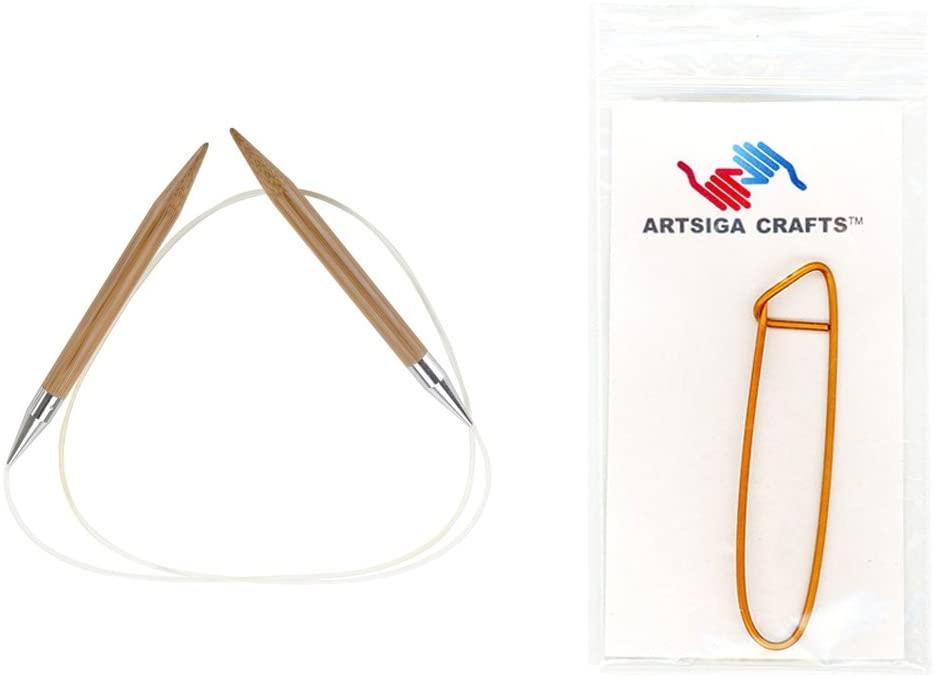 ChiaoGoo Knitting Needles Circular 40 inch (102cm) Bamboo Dark Patina Size US 9 (5.5mm) Bundle with 1 Artsiga Crafts Stitch Holder 2040-9