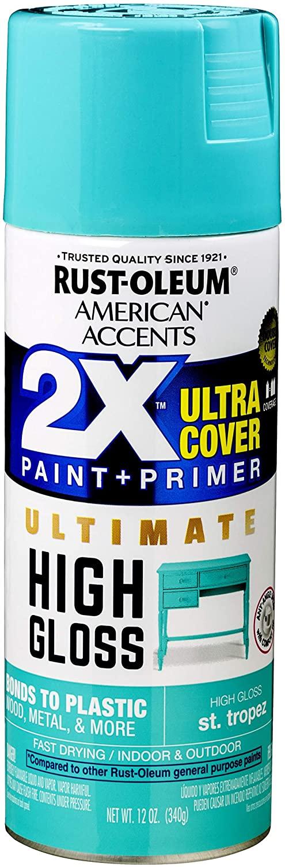 Rust-Oleum 328377 American Accents Spray Paint, 12 Oz, High Gloss St. Tropez
