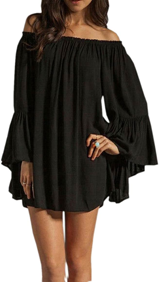 JJ-GOGO Sexy Off Shoulder Boho Ruffle Sleeve Blouse Mini Dress Beach Dress