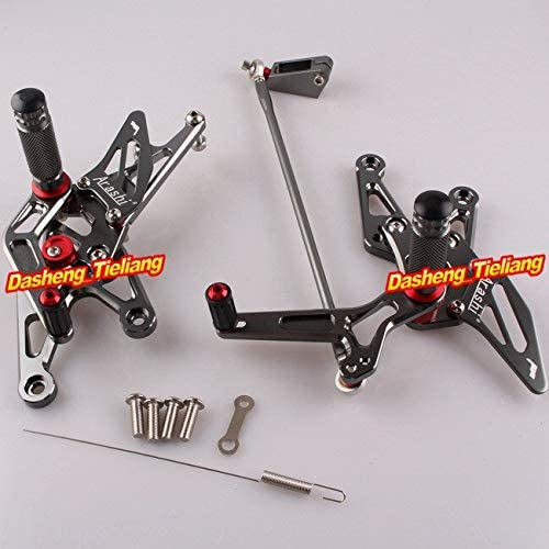 Frames & Fittings CNC Motorcycle Rearset Rear Set Foot Pegs for Yamaha 2007 2008 YZF R1 07 08 Grey Color, Aluminum Alloy