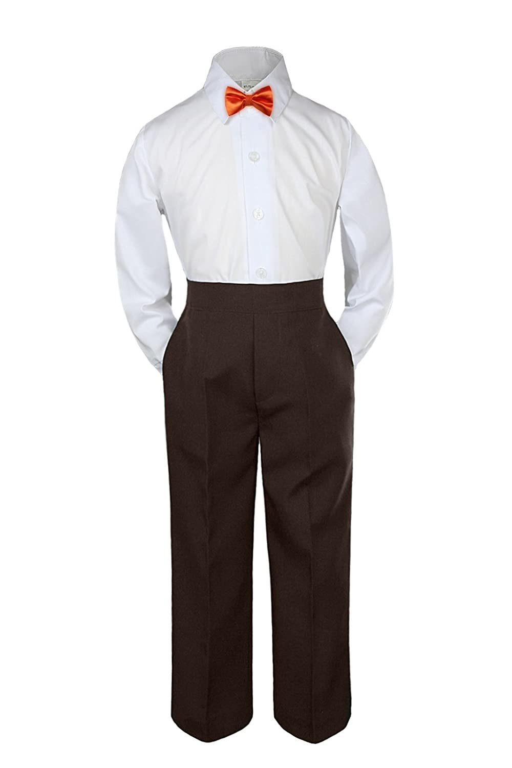 Leadertux 3pc Formal Baby Toddler Boys Orange Bow Tie Brown Pants Set Outfit S-7 (4T)