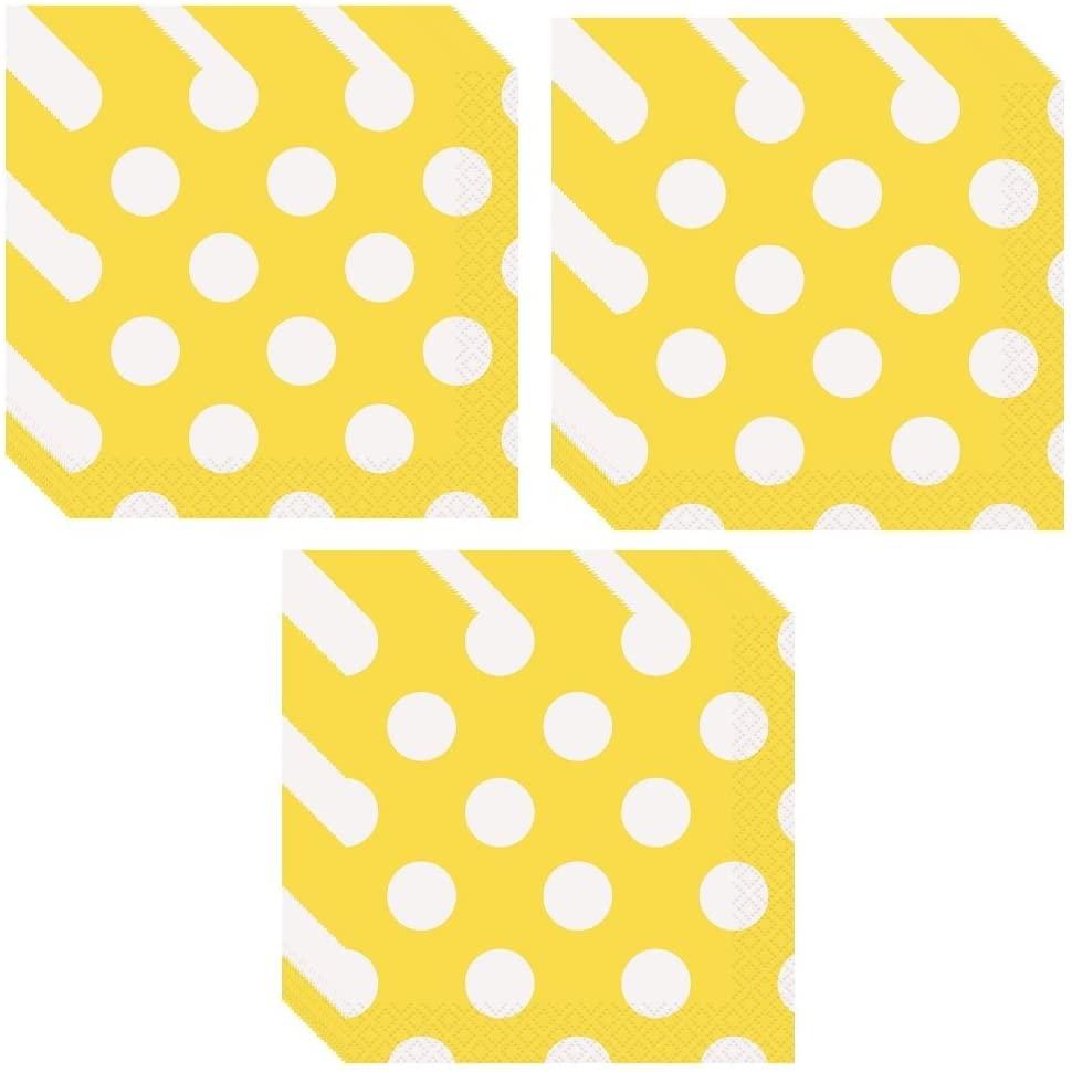 Esave Yellow Polka Dot Party Lunch Napkins - 48 Napkins