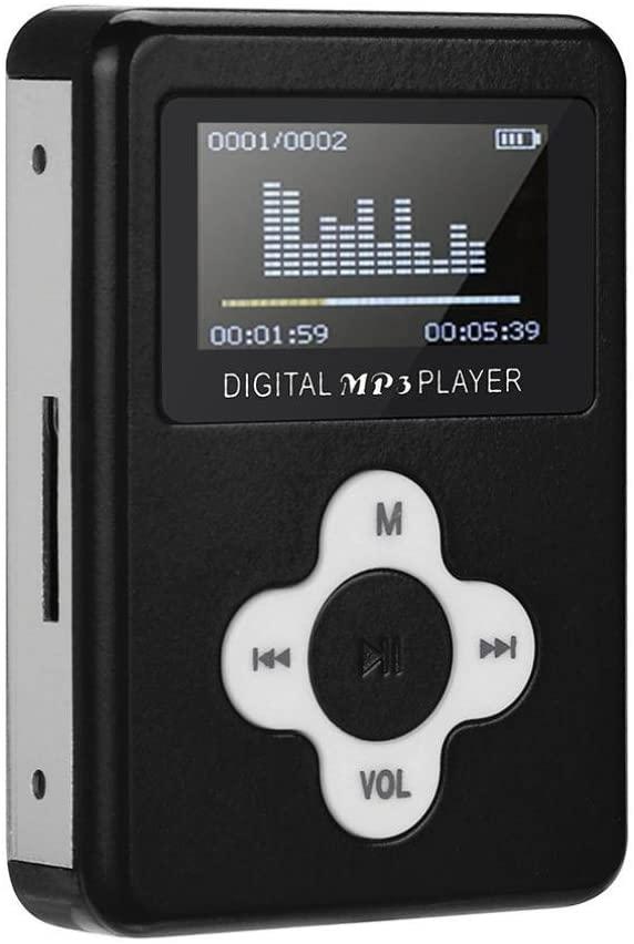 Iuhan USB Mini MP3, USB Mini MP3 Player LCD Screen Support 2/4/8/16GB/32GB Micro SD TF Card (Black)