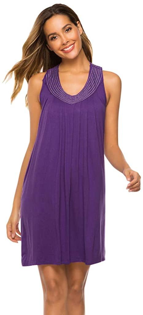 LENXH Ladies Dress Sleeveless Dress V-Neck Dress Bright Beaded Dress Solid Color Beach Skirt