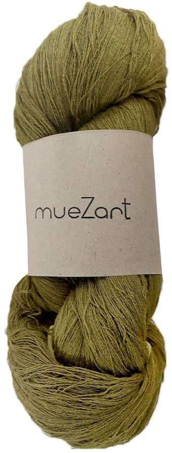 Muezart 100% Natural Eri Silk Yarn | 90g Skein 2100 Yards (Approx) | 60/2 Fine Lace | Weaving, Crocheting | Naturally Plant Dyed by Hand | Fern Green