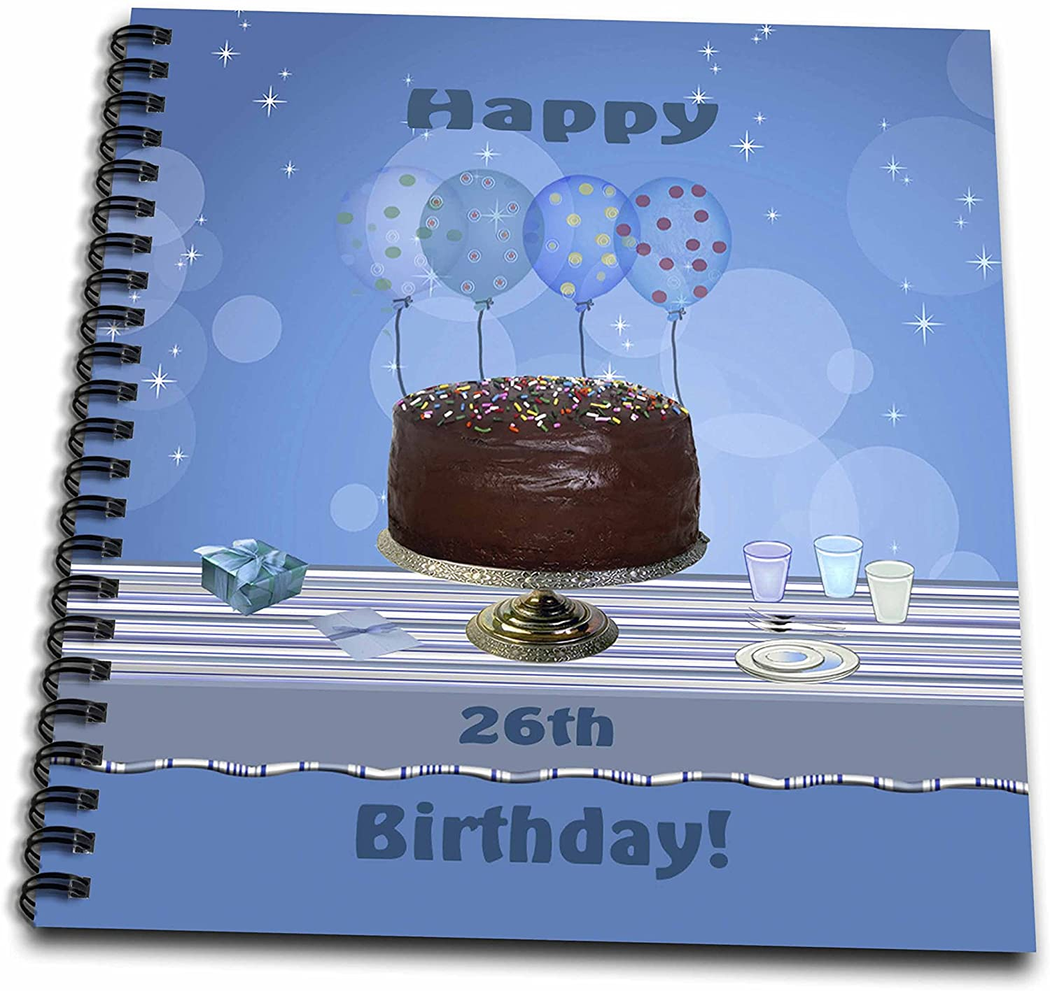 3dRose db_123912_2 26th Birthday Party with Chocolate Cake and Blue Balloons Memory Book, 12 by 12-Inch