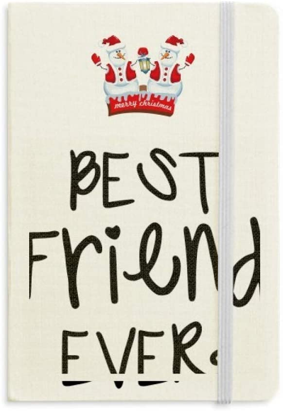 Friendship Best Friend Ever Words Quotes Christmas Snowman Notebook Thick Hardcover
