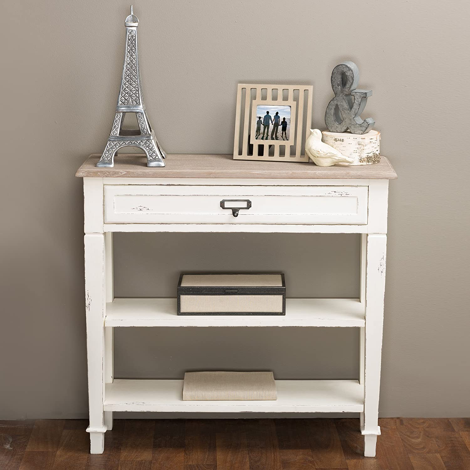 Baxton Studio Dauphine Traditional French 1-Drawer Accent Console Table, White