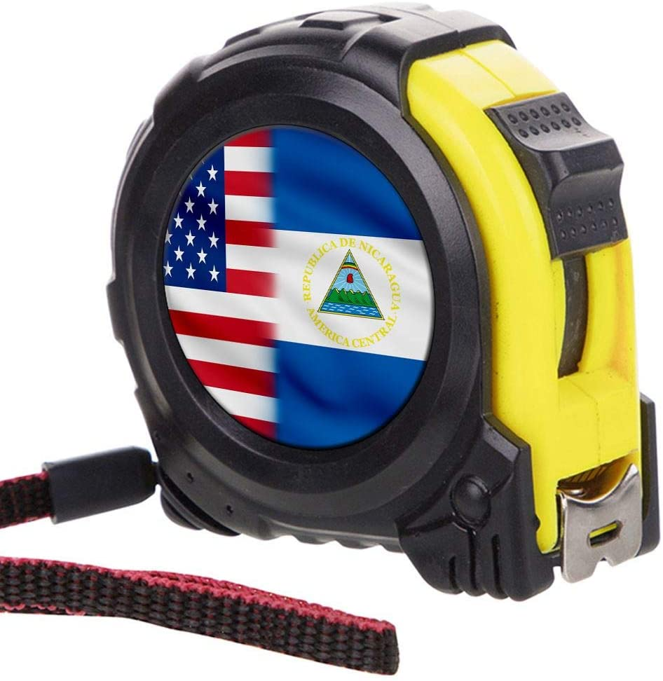 ExpressItBest Tape Measure with 16 Foot Steel Tapeline - Flag of Nicaragua (Nicaraguan) - Nicaragua Flag with USA