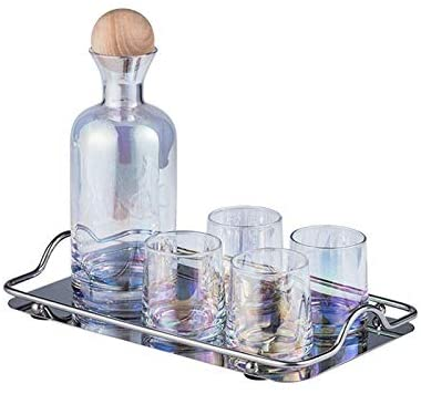 Nordic Style Hand-blown Glass Water Cup And Wine cup Set 6 pc Sets-including A Jug(1200ml) and 4 water glasses (260ml) and 1 tray ASIN: B088835SHD (Dazzling)