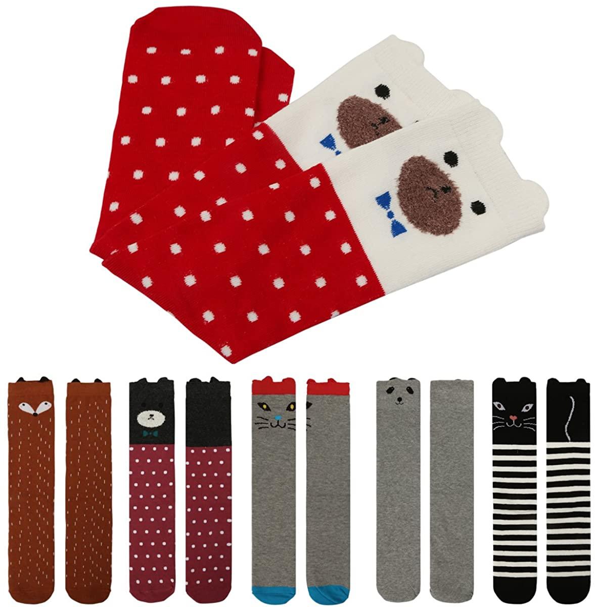 6 Pair Girls Socks Knee High Stockings Cartoon Animal Warm Cotton Long Socks Deekey Updated (Animal 6 Pairs 16