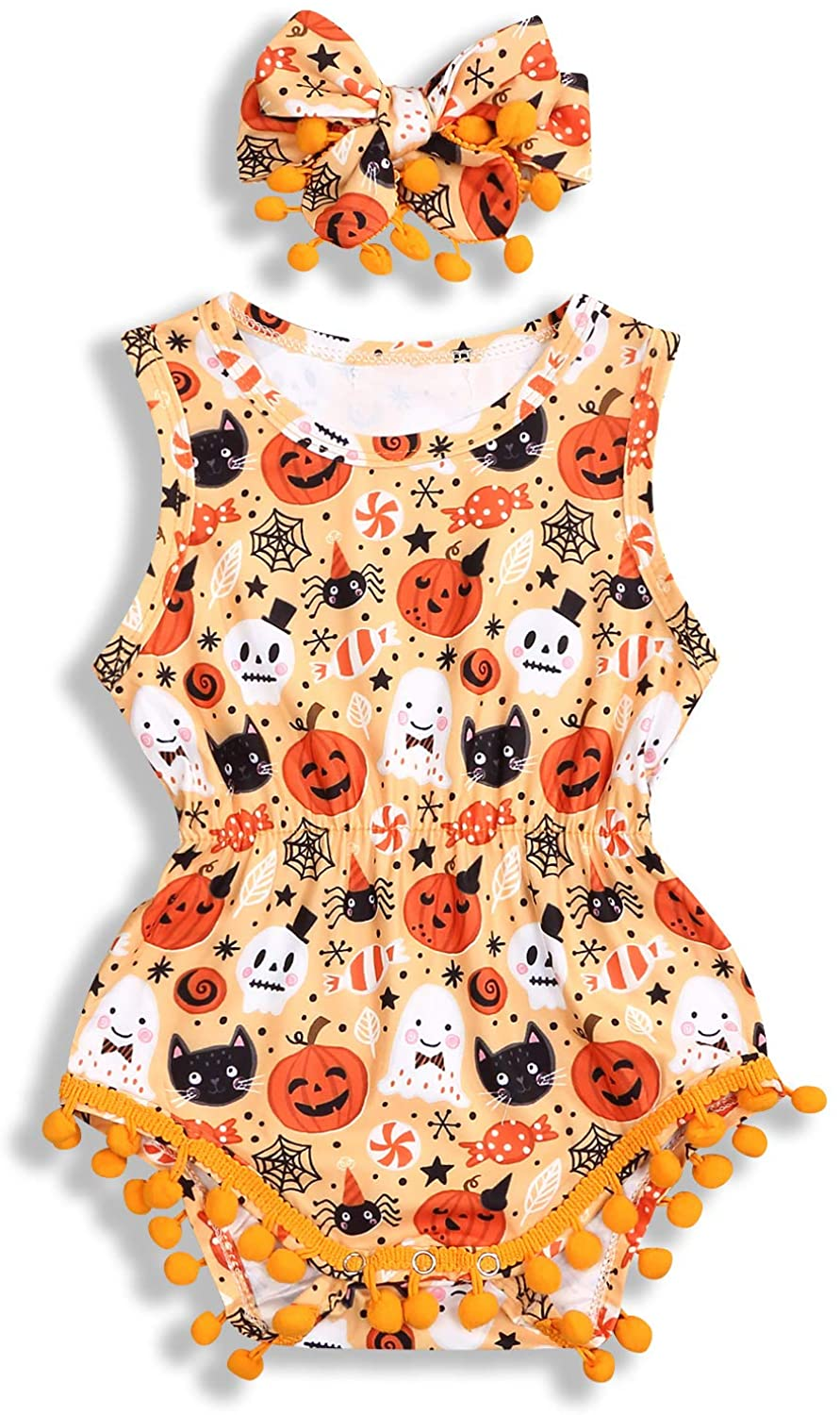 2Pcs Halloween Clothes for Toddler Baby Girls Floral Romper Pumpkin Tassels Bodysuits with Headband Outfits