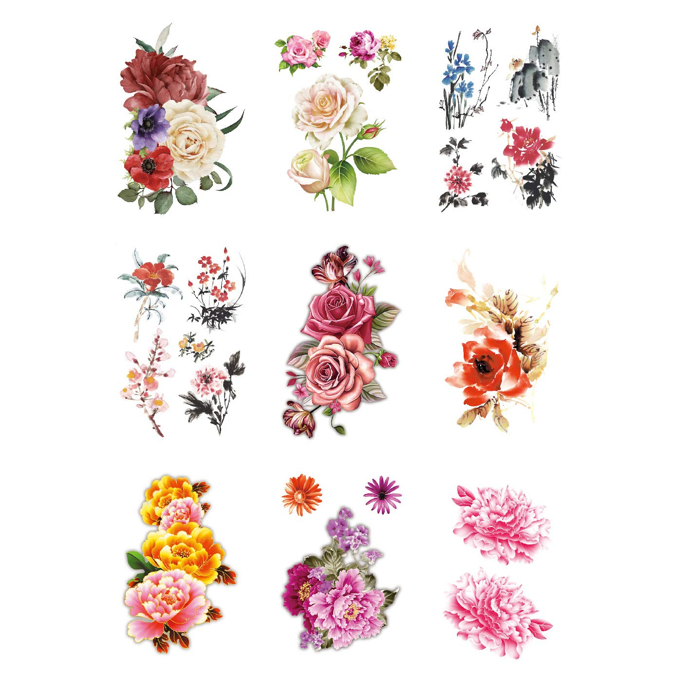Half Arm Size Fake Temporary Tattoo Sticker Flowers for Woman