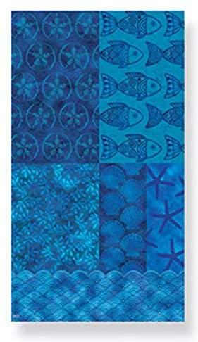Cape Shore Beach Batik Guest Towels Hostess Buffet Paper Napkins with Coral, Fish, and Seashells, Aqua Blue, 30 ct