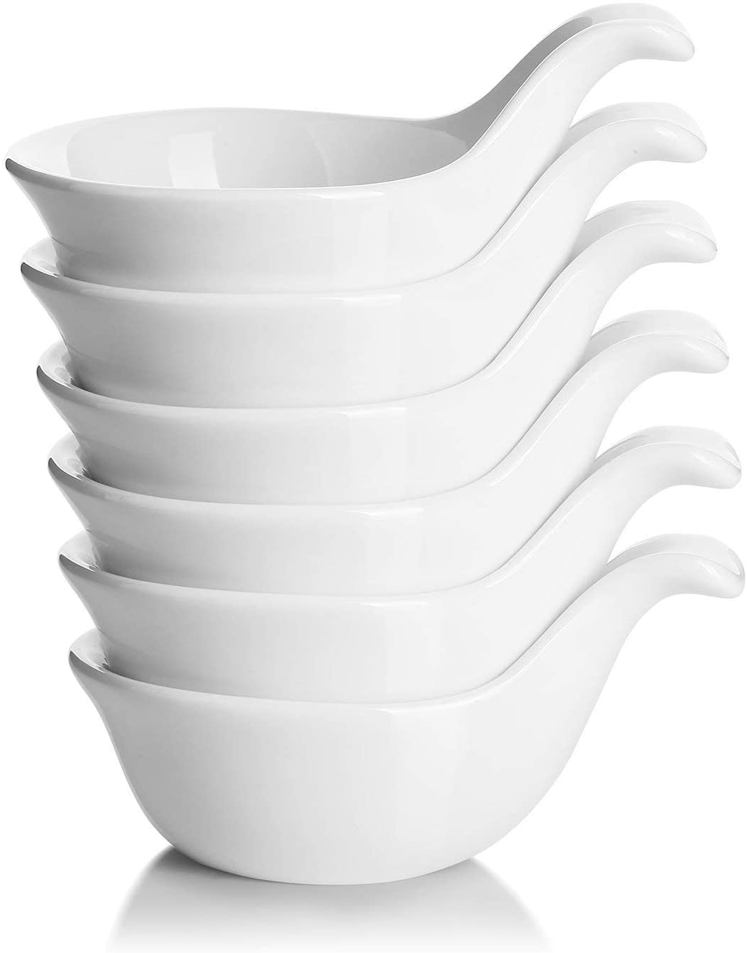 DOWAN Side Dish Porcelain Dip Bowl Set with Handle, 3 Oz Deep for Soy Sauce, Ketchup, Condiment, Appetizer, BBQ and other Party Dinner, 3 ounce, White