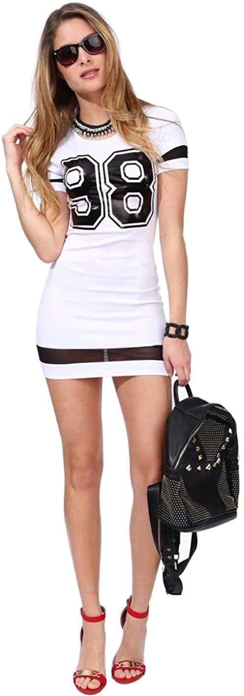 JJ-GOGO Women's Short Sleeve 98 Print Tees Mini Dress