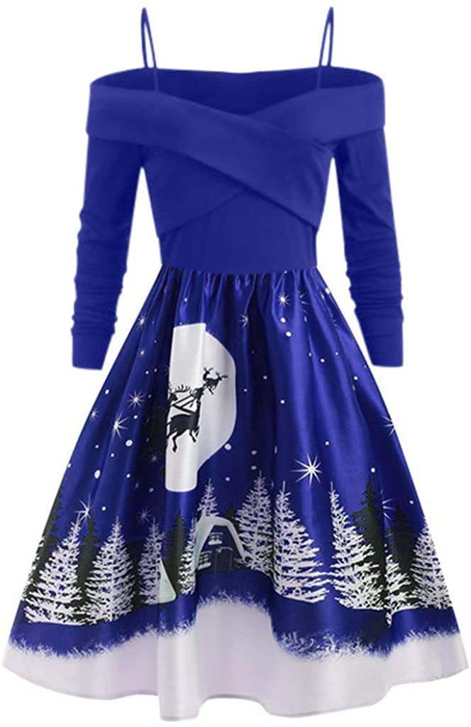 ZEFOTIM Christmas Vintage Dress, Women Casual Christmas Day Long Sleeve Print Dress Plus Size Party Dress