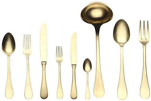 Mepra Venere Oro 1097V22039 39 Pcs Flatware Set – Metallic Tableware, Dishwasher Safe Cutlery