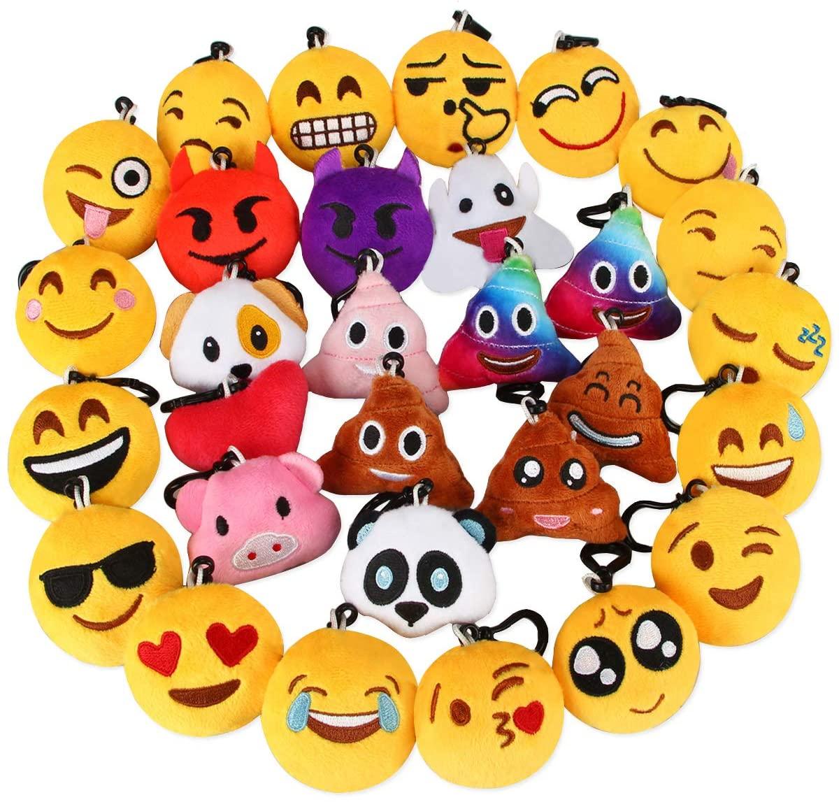 Dreampark Emotion Keychain, Emotion Plush Key Chain Bulk Toy Christmas Birthday Party Favors Supplies, Treasure Box Rewards Carnival Prizes for Kids Boys and Girls, 2