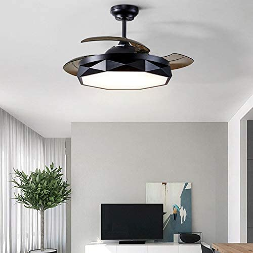 WASS6 Nordic Modern Ceiling Fans Lights Invisible Ceiling Fan with Remote Control 36 inch 42 inch Dimmable Chandelier,Home Decorative Lighting Fixture, Black,Included 220V 110V