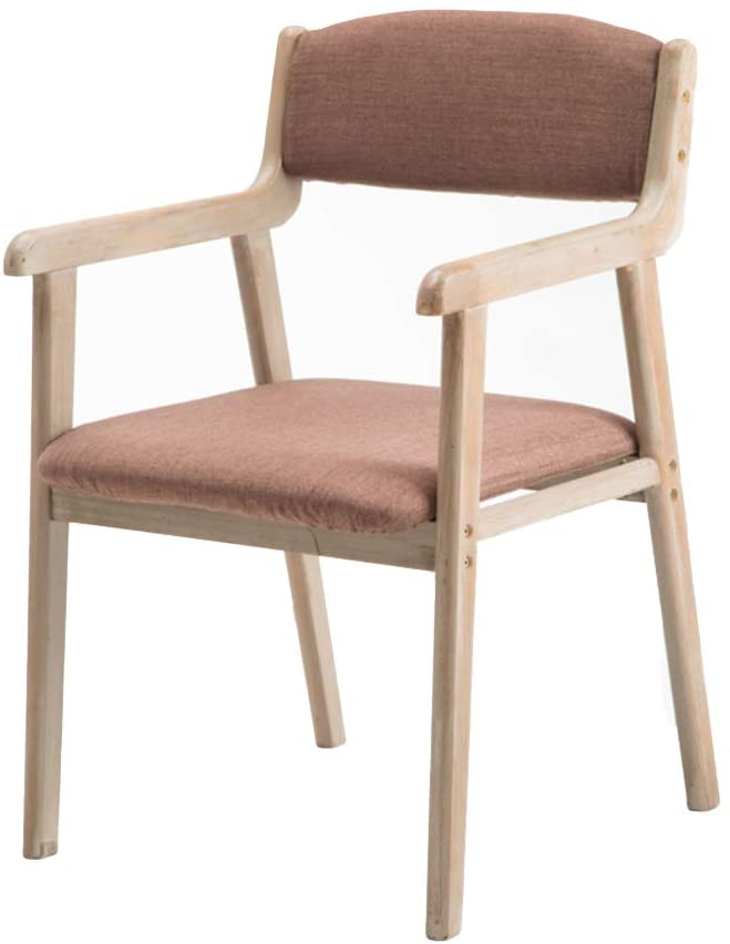 Modern Solid Wood Dining Chair, Upholstered Linen Fabric Seat Chair with Armrest and Backrest Computer Chair Desk Chair-m H45cm(18inch)