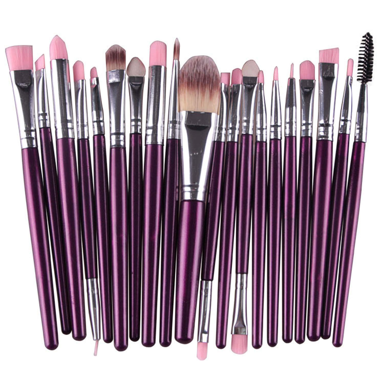 NICEMOVIC 20 Pcs Makeup Brush Set, Powder Foundation Eyeshadow Eyeliner Lip Cosmetic Brushes Make-up Toiletry Kit (Purple & Silver) Ideal for Pro & Daily Use