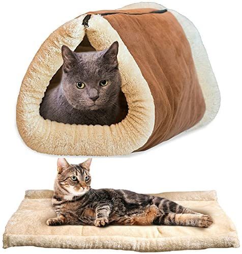 Newworld 2-in-1 Cat Pet Bed Tunnel Fleece Tube Indoor Cushion Mat Pyramid Pad for Dog Puppy Kitten Kitty Kennel Crate Cage Shack House
