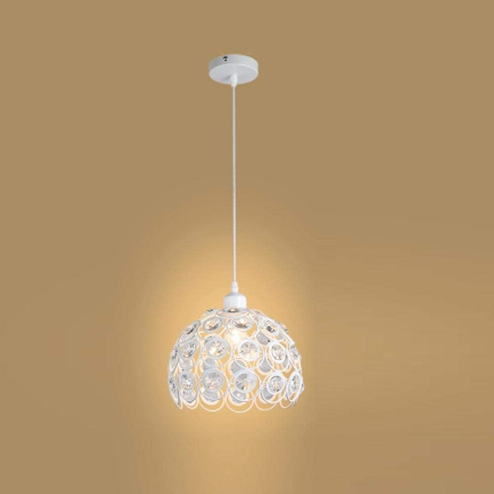 BOSSLV Light Shades Hanging Light Hollow Crystal Iron Cage with Ceiling Lighting Style Modern for Parlor Dining Hall Bar E27Base Pendant Lamp No Bulbs[Energy Class A+], White