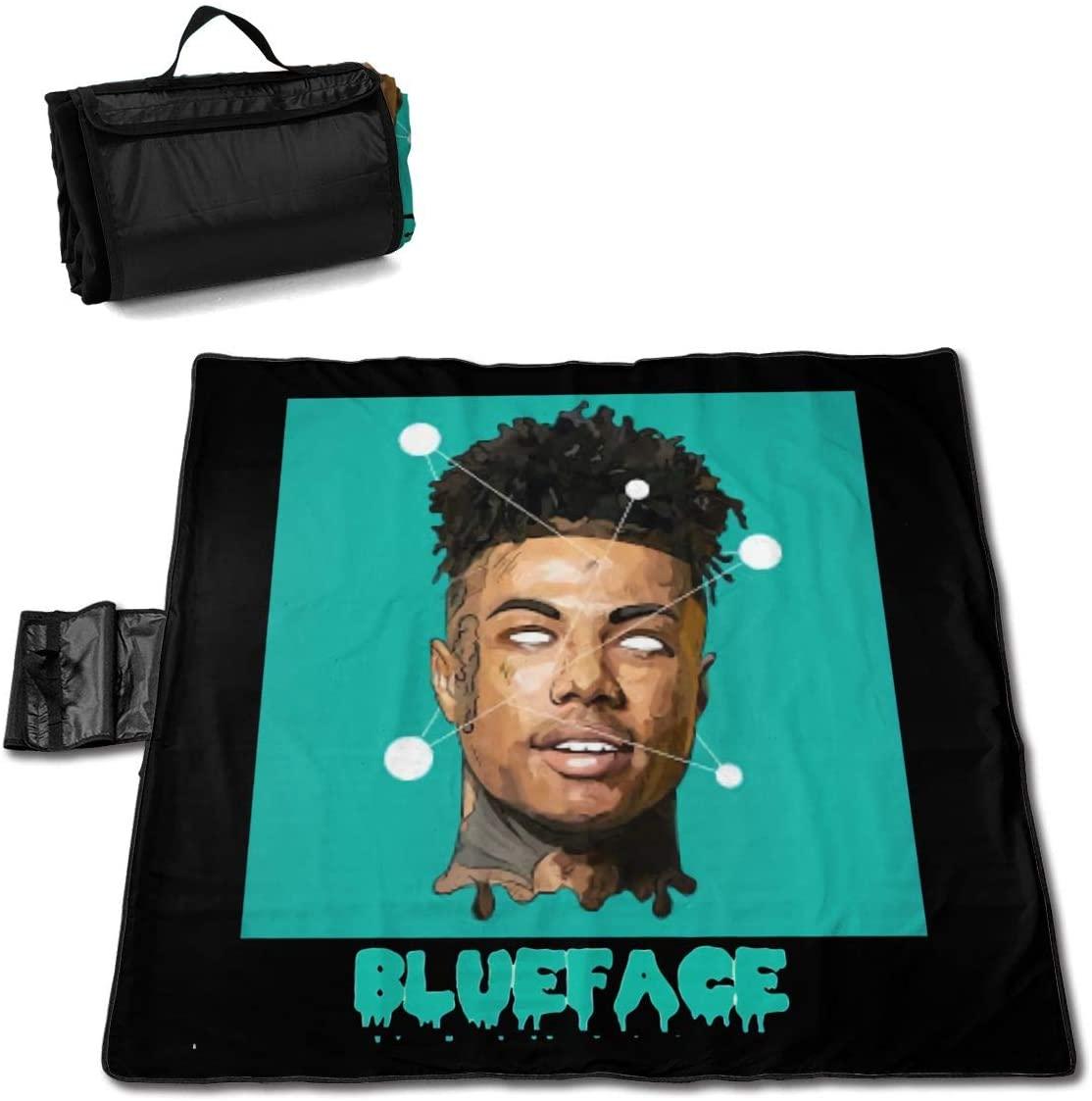 Htu Big Bang Blue=Face Portable Printed Picnic Blanket Waterproof 59x57(in)