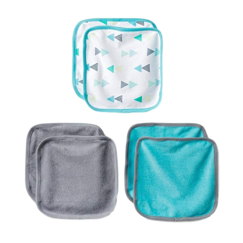 Cloud Island - 6pk Lightweight Washcloths - Turquoise Lacquer & Gray (Infant)