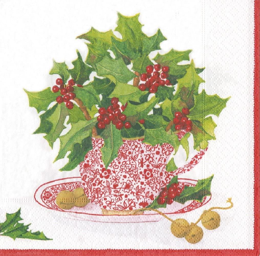 Entertaining with Caspari Christmas Tea Luncheon Napkins, Green, Pack of 20