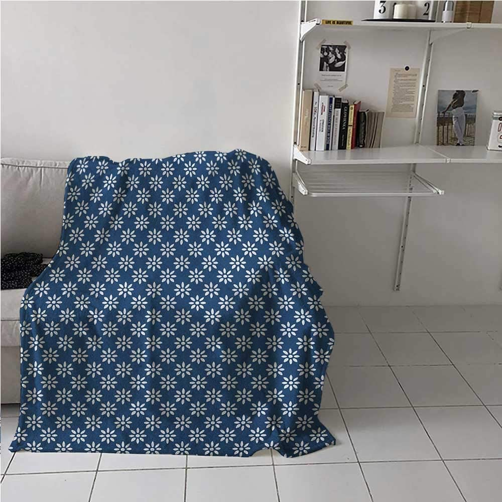 Soft Blanket Hand Drawn Style White Flowers on a Blue Background Classic Delft Pattern All Seasons Thin Quilt to Keep Adults, Children, Warm on Cool Nights Navy Blue and White 40 x 60 Inch