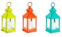 Evergreen Garden Green, Aqua, and Orange Metal and Plastic Outdoor Lanterns with LED Candles, Set of 3