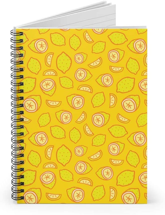 Summer Seamless Citrus Pattern Spiral Notebook Lemon Lime Yellow Ruled Notebook Diary Journal Lined Notebook Gift