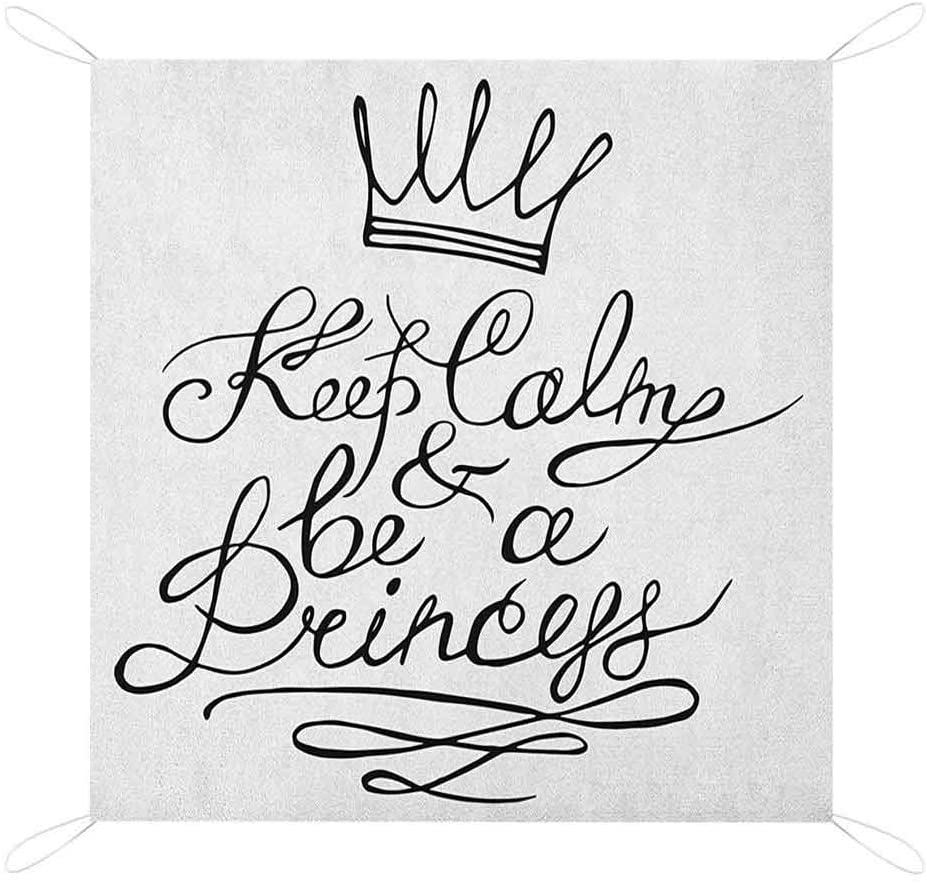 Nomorer Keep Calm Picnic Blanket Waterproof Bottom, Be a Princess Motivational Romantic Quote with Hand Letters Save The Date Custom Picnic Mat, 60 x 57, Black White