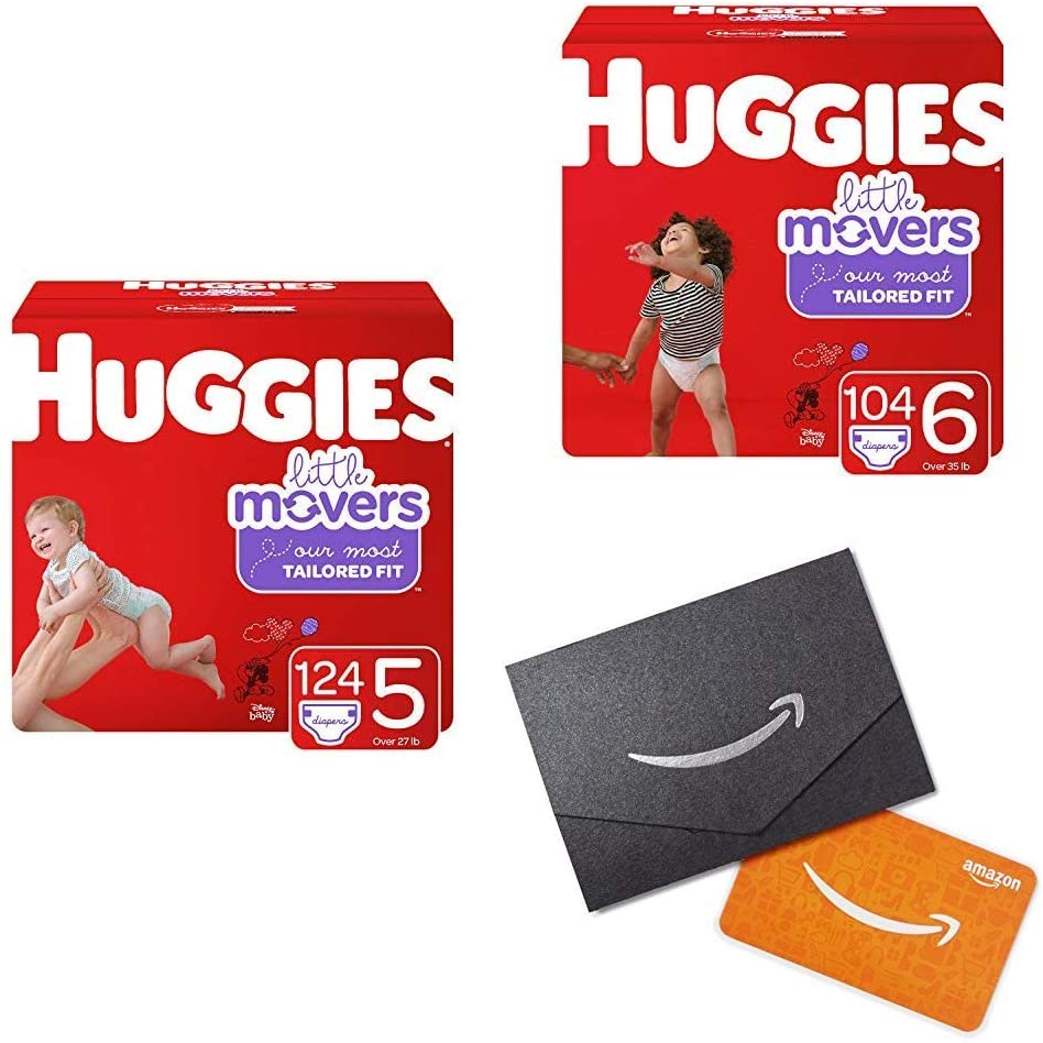 Huggies Little Movers Diapers, Size 5 (27+ lb.) 124 Ct, One Month Supply and Size 6 (35+ lb.) 104 Ct, One Month Supply (Packaging May Vary) with DHgate.com $25 Gift Card