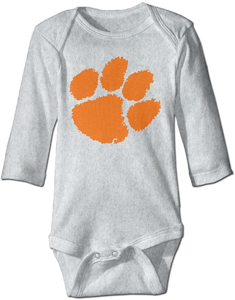 OOKOO Baby's Clemson University Tiger Paw Logo Bodysuits White