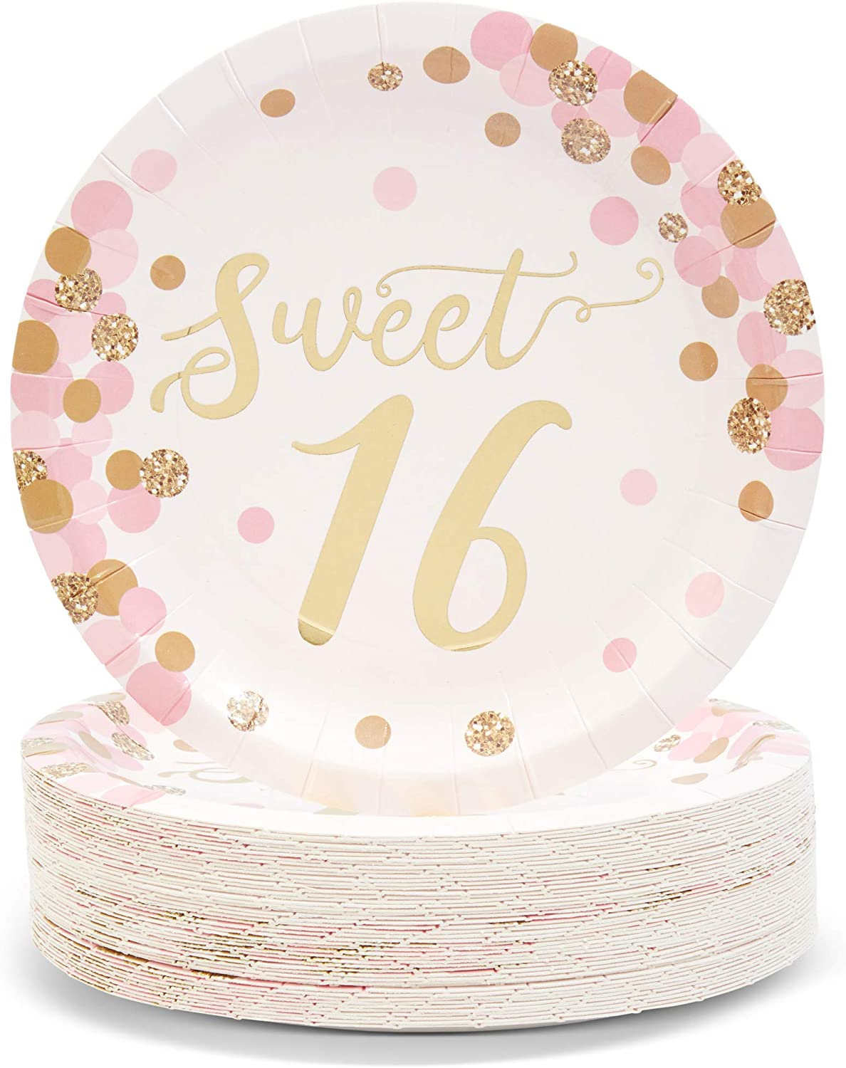 Sweet 16 Birthday Party Plates (7 Inches, Pink and Gold, 48-Pack)