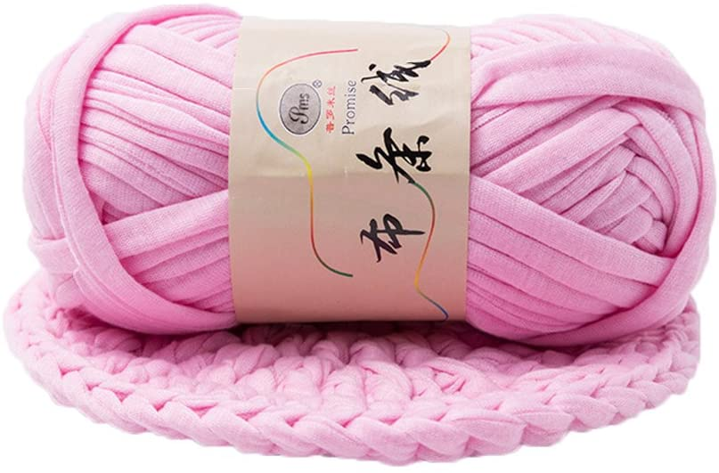 dukesong 1 Lump of Cloth Yarn Hand-Knit Woven Thread Thick Basket Blanket Braided DIY Crochet Cloth Fancy Yarn Light Pink