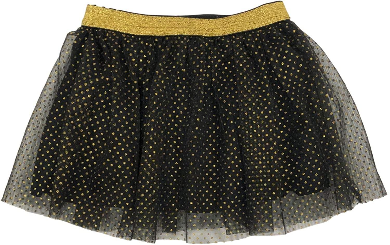 Toddler Girls Black & Gold Polka Dot Halloween Tulle Tutu Skirt