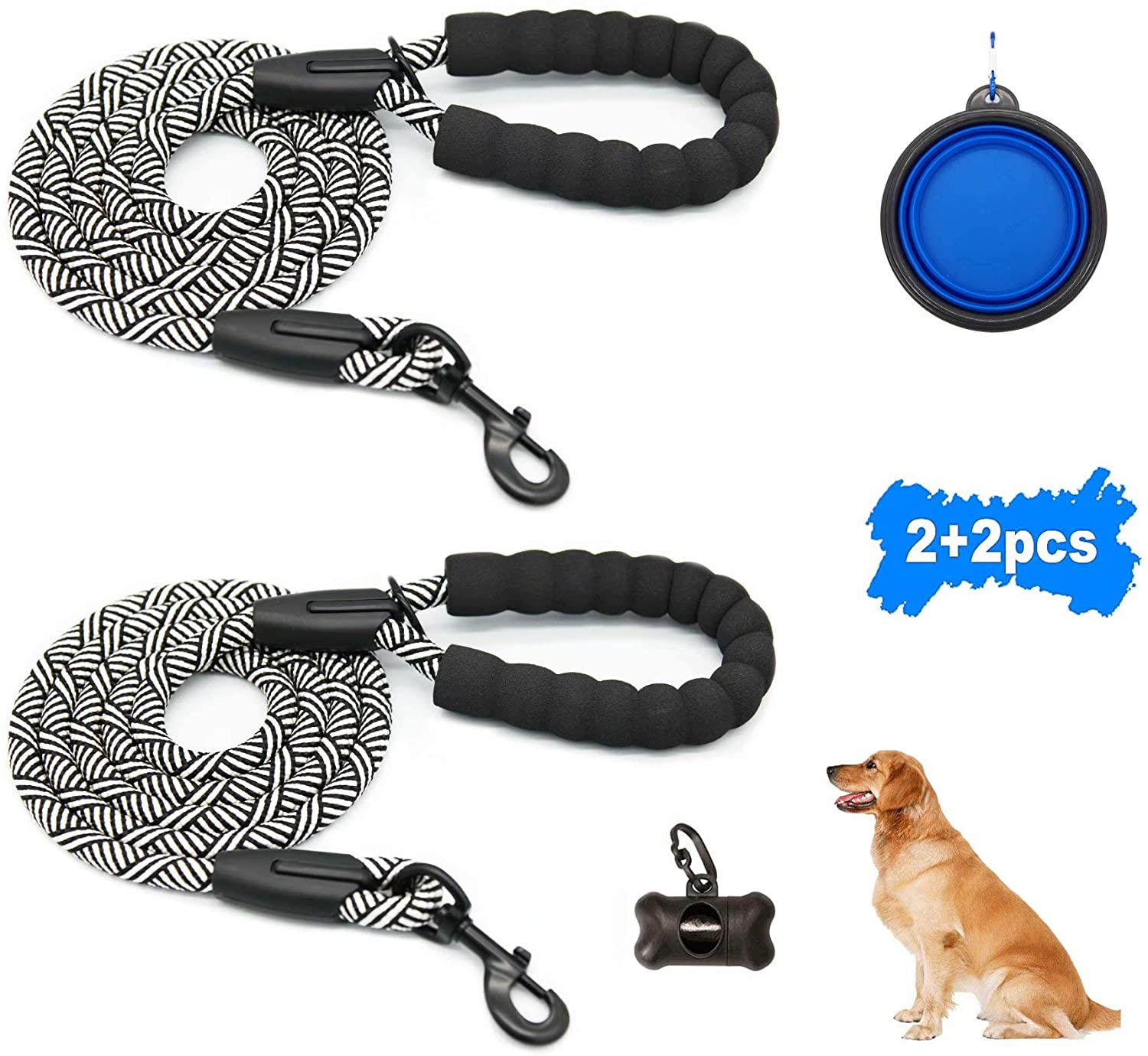 Dibite Dog Leashes Heavy Duty Strong Leash for Large Medium Dogs Training Walking Hiking with Portable Dog Bowl and Poop Bag Dispenser