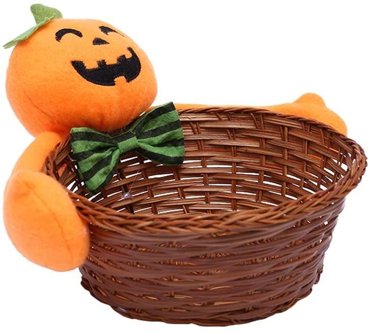 Halloween Candy Basket Halloween Pumpkin Hand-Woven Candy Basket Snacks Fruit Decoration Bowl Holder for Home Decor L