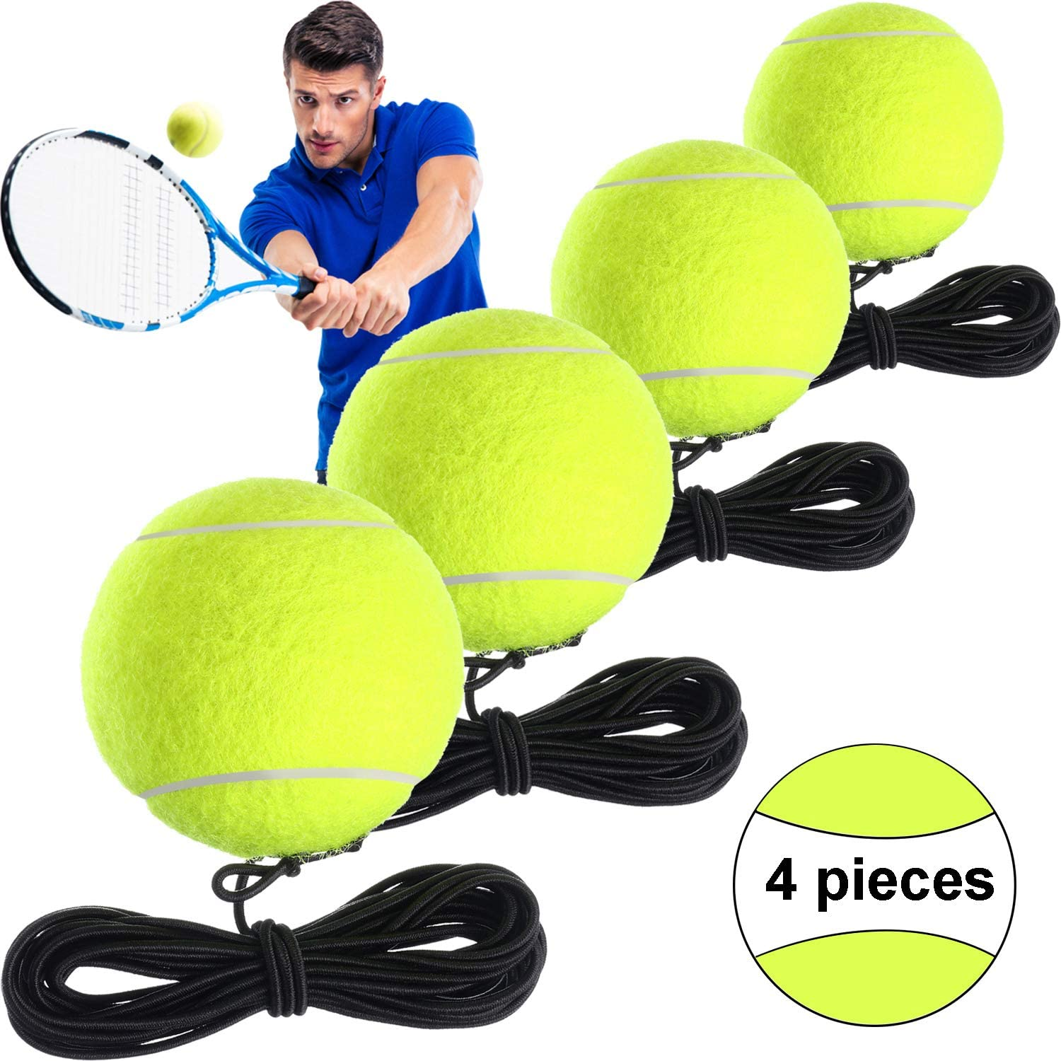 Gejoy 4 Packs Tennis Training Ball with String Tennis Trainer Balls Self Practice Trainer Tool Tennis Ball Training Equipment for Tennis Trainer Practice Exercise