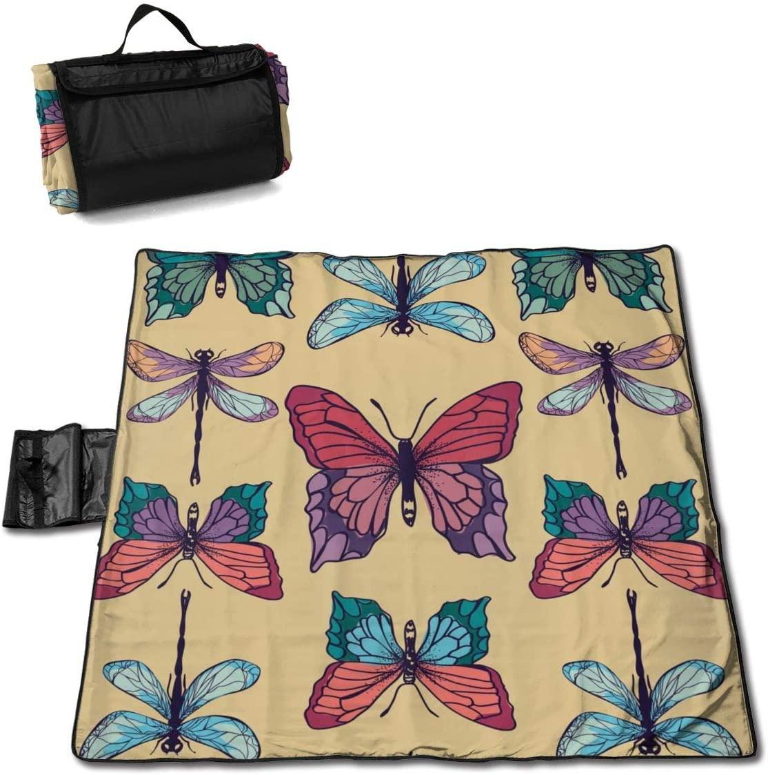 HONGSH Outdoor Picnic Blanket,Beach Blanket, Butterflies Dragonflies Beach Mat, Waterproof Sandproof Foldable Picnic Mat, Portable Outdoor Beach Blanket for Beaches,Camping,Hiking Picnic