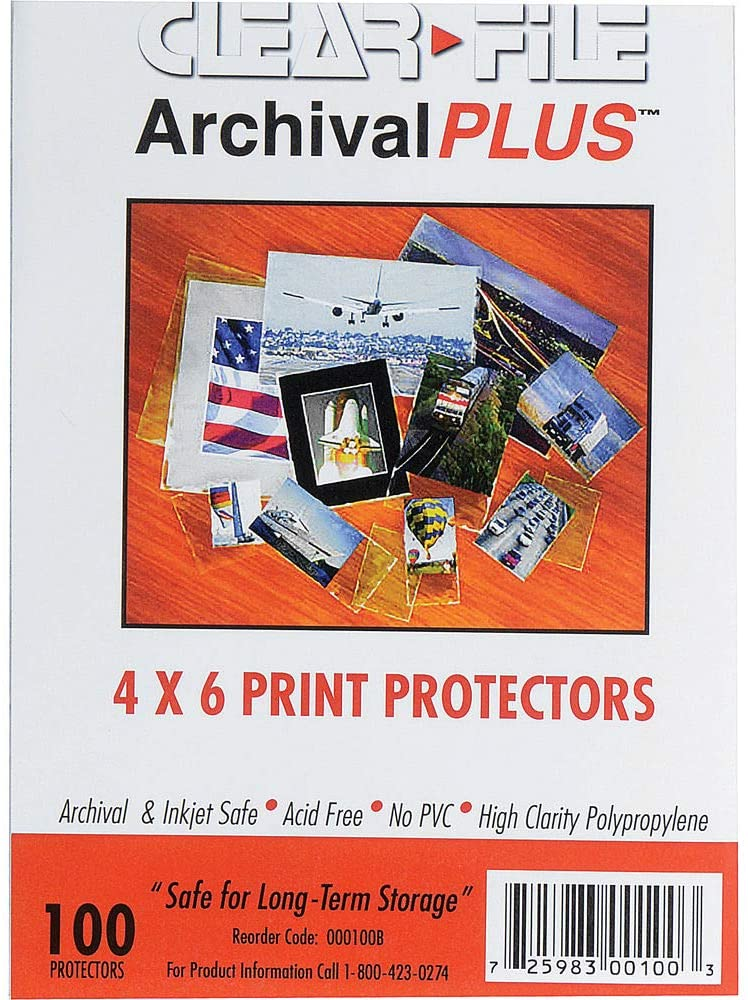 Clear-File Archival-Plus Print Protector, Holds 4 x 6