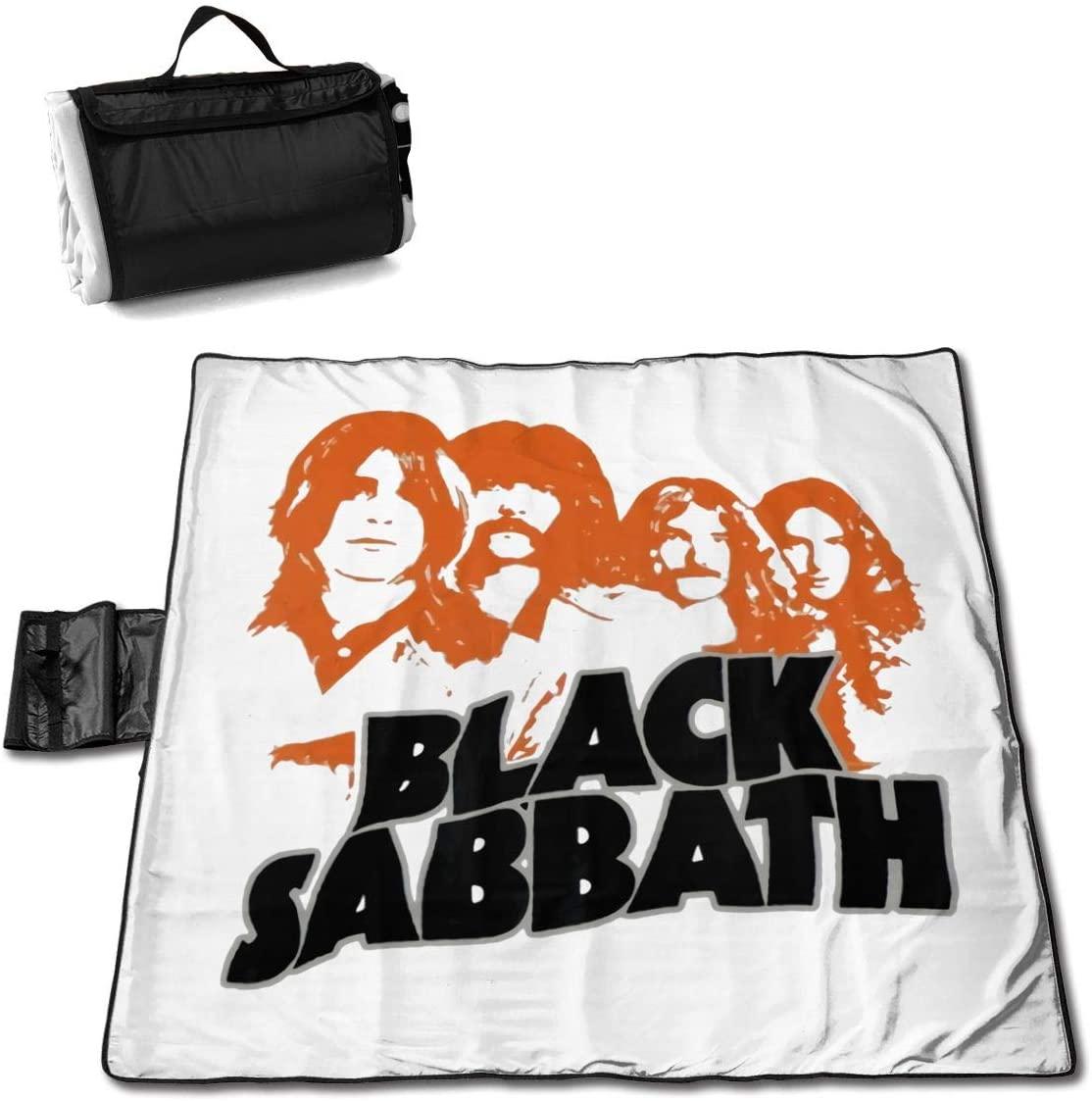 Htu Black=Sab-Bath Portable Printed Picnic Blanket Waterproof 59x57(in)