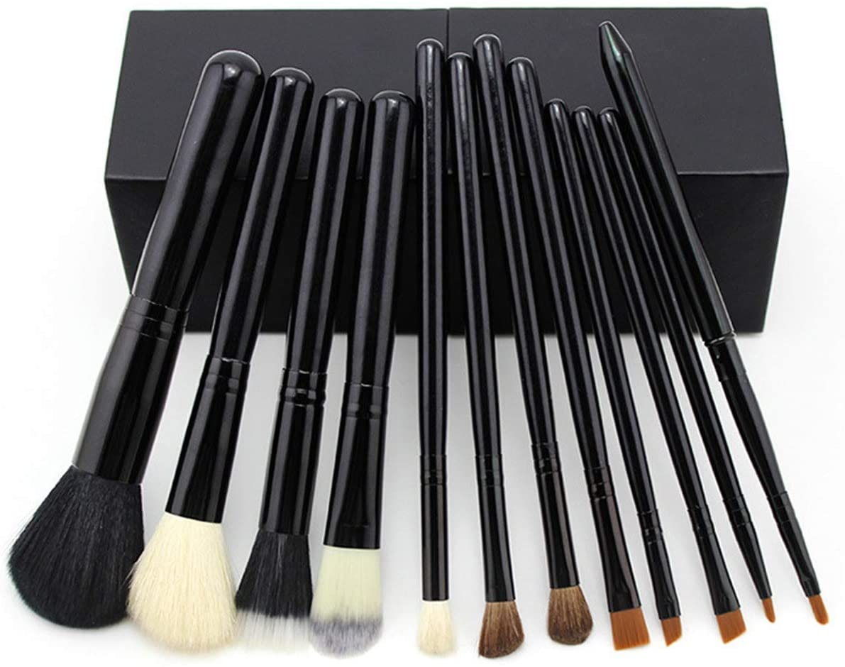 zZZ ZX 12 Pcs Animal Hair Wool Horse Hair Fiber Hair Combination Makeup Brush Set Magnet Barrel Brush Beautiful (Color : Black)