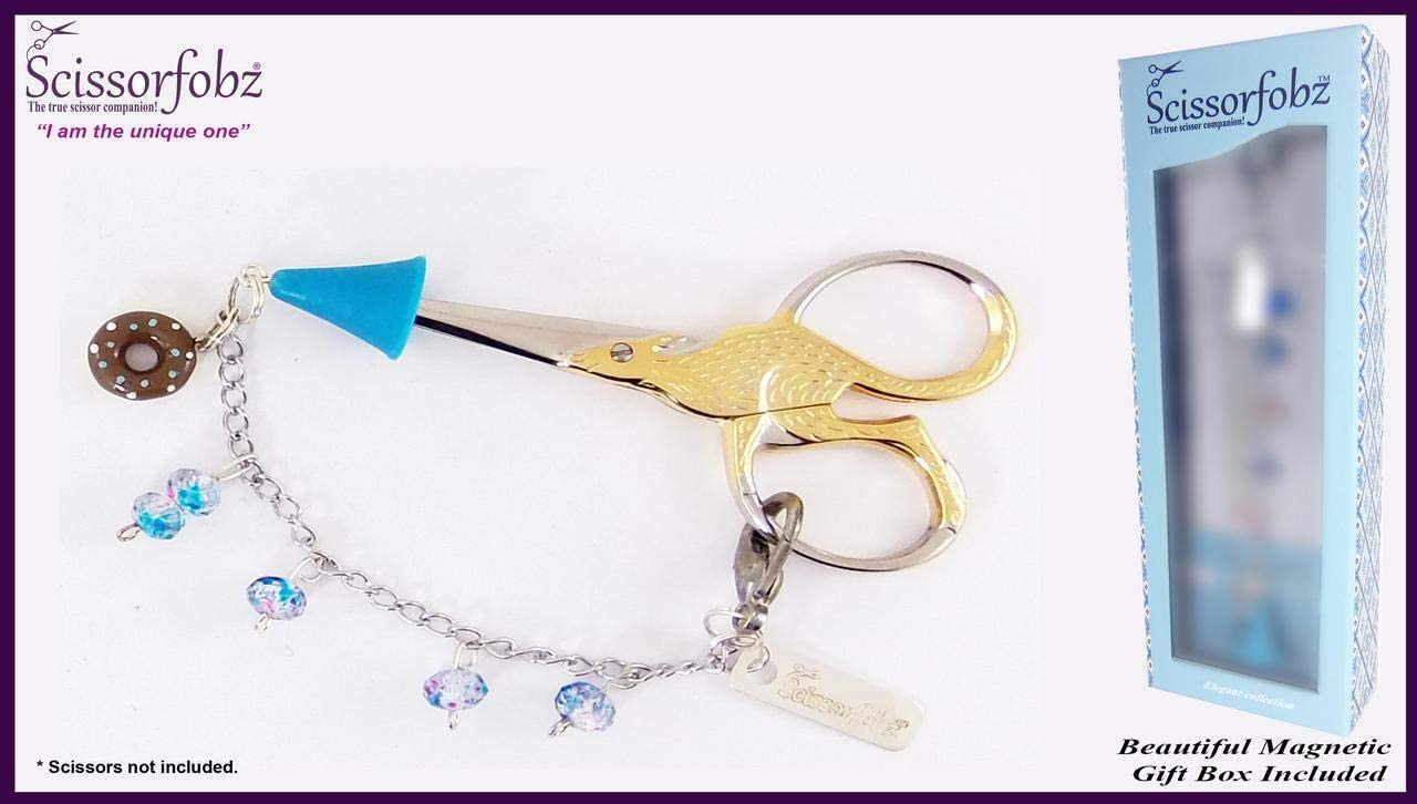 Scissors Fobs by SCISSORFOBZ-Elegant Collection with Sharp Scissors Point Protector for Added Safety- Quilters Sewers Needlework Embroidery Gifts. Beautiful Magnetic Gift Box Included. #E15000012
