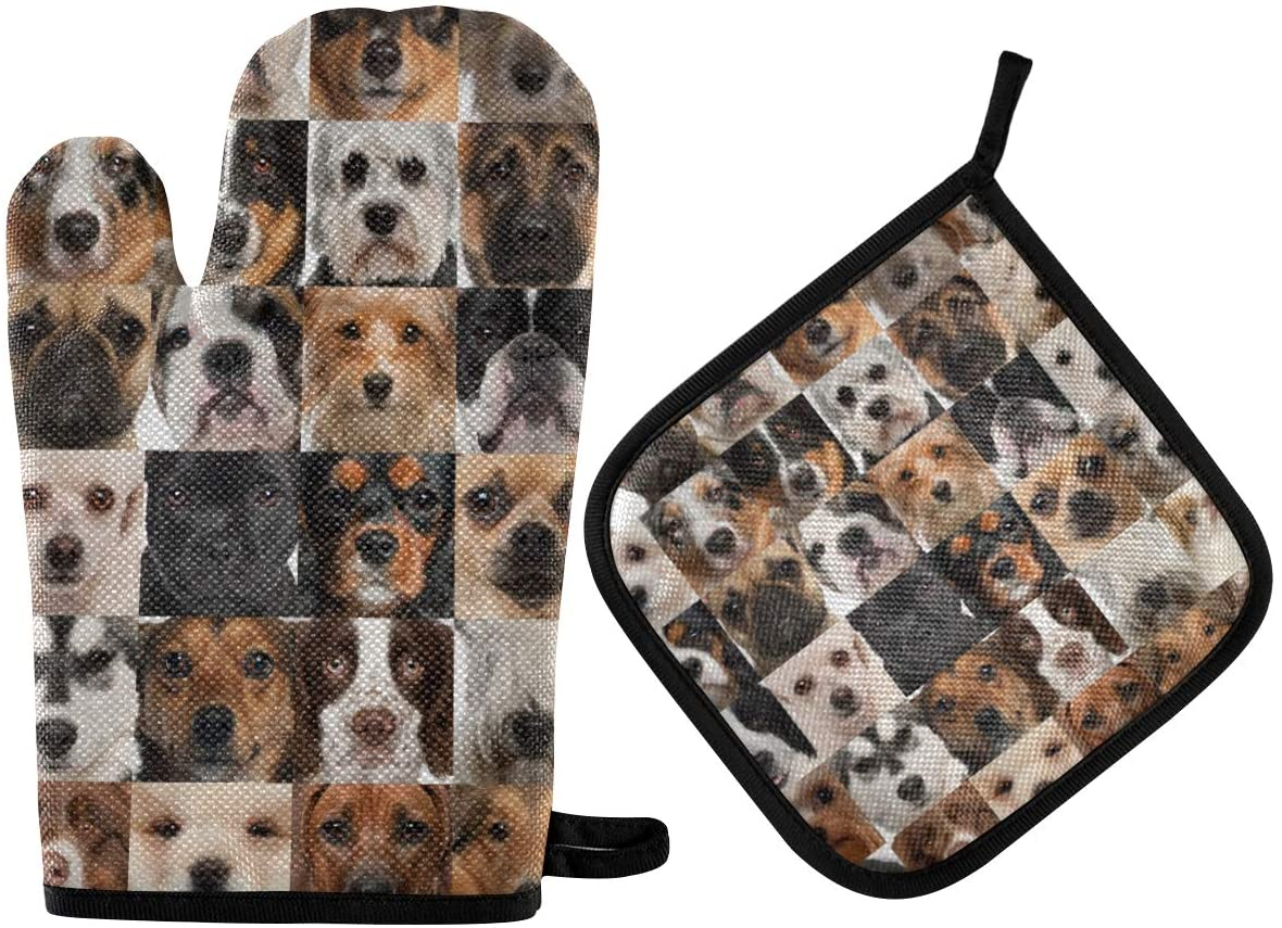 DOMIKING Oven Mitts Pot Holders Sets - Collage of 36 Dog Faces Hot Gloves Heat Resistant Hot Pads Non-Slip Potholders for Kitchen Cooking Baking Grilling